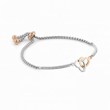 Milleluci Interlocking Hearts Bracelet in Silver with CZ Pave and Rose Gold
