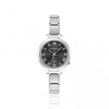 Paris Big Composable Round Watch With Grey Dial
