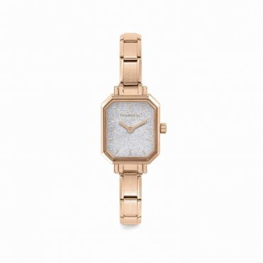 Paris Rose Gold Classic Composable Rectangular Watch With Glittery Dial