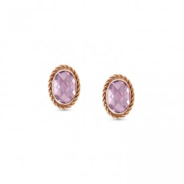 Pink CZ and Silver Faceted Oval Stud Earrings
