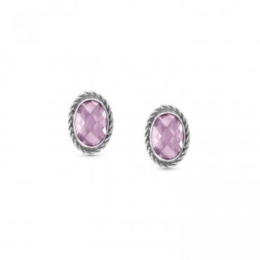Pink CZ and Silver Oval Stud Earrings