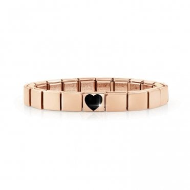 Rose Gold Glam Bracelet with Black Enamel Heart Charm