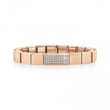 Rose Gold Glam Bracelet with Double CZ Pave Charm