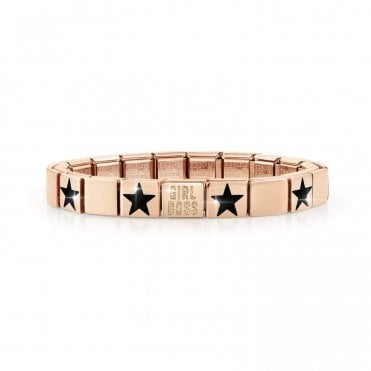 Rose Gold Glam Bracelet with Glittery Girl Boss and Black Star Charms
