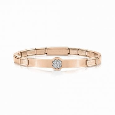 Trendsetter Rose Gold and CZ Pave Clover Bracelet