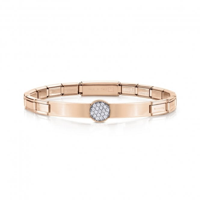 NOMINATION Trendsetter Rose Gold and CZ Pave Disc Bracelet