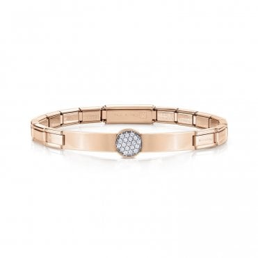 Trendsetter Rose Gold and CZ Pave Disc Bracelet