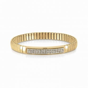 XTE White Swarovski Crystal Yellow Gold Bracelet