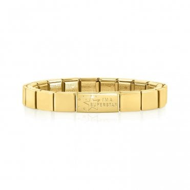 Yellow Gold Glam Bracelet with I'm A Superstar Charm