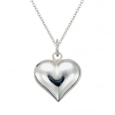 Chunky Silver Heart Pendant Necklace
