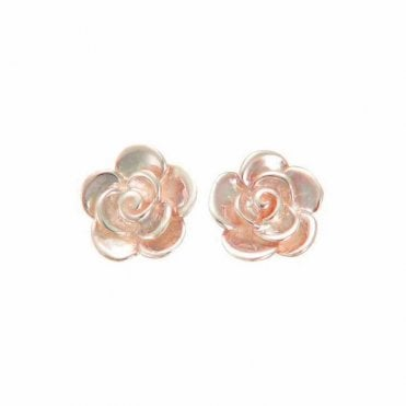 Rose Gold Rose Bloom Stud Earrings