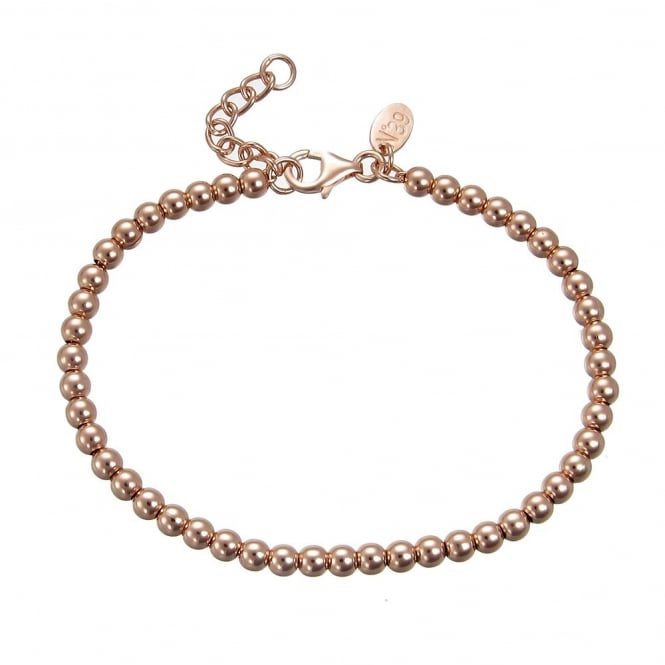 Number 39 Rose Gold Vermeil 4mm Beaded Ball Bracelet With Extender Chain