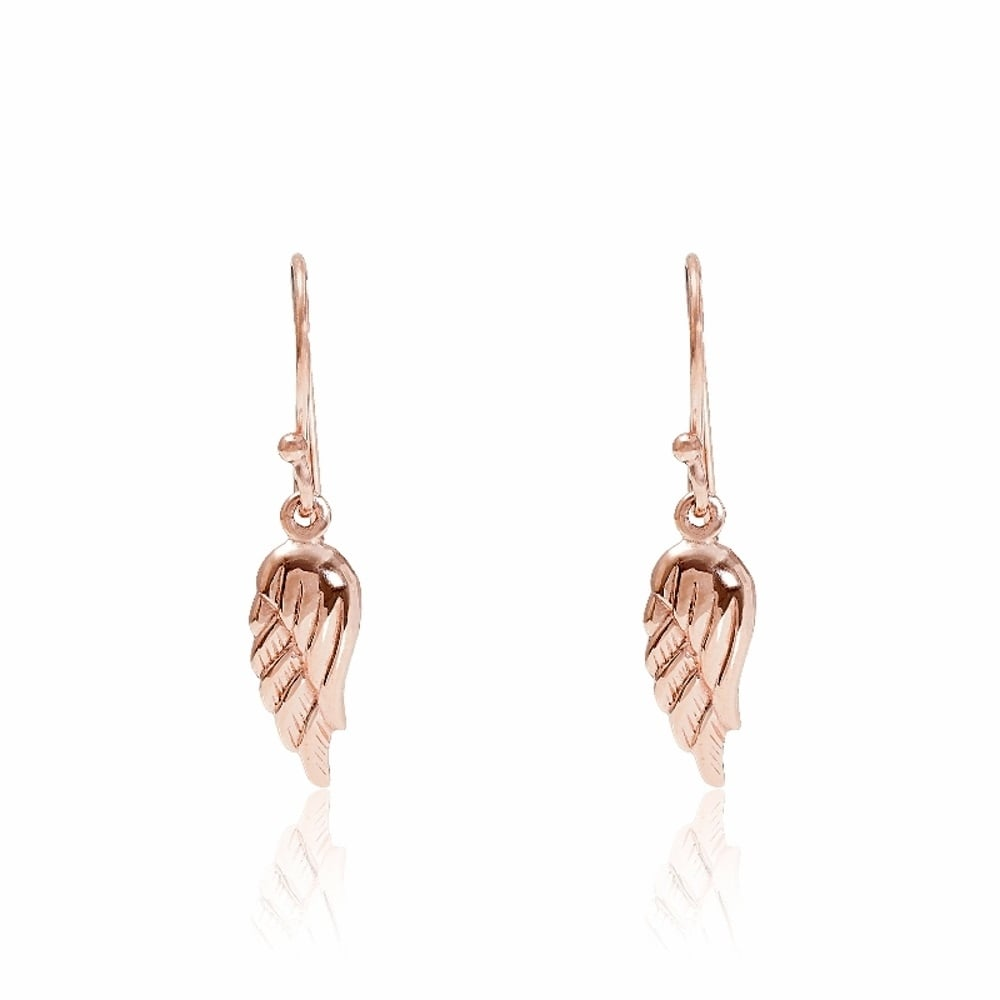 16172b8ed60f3 Rose Gold Vermeil Angel Wing Drop Earrings