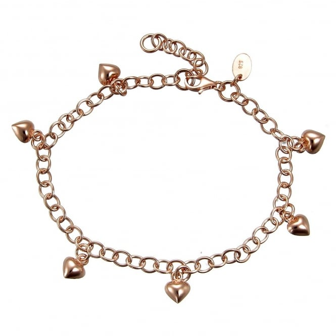 Number 39 Rose Gold Vermeil Charm Bracelet With 6 Hanging Rose Gold Vermeil Hearts & Extender Chain