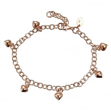 Rose Gold Vermeil Charm Bracelet With 6 Hanging Rose Gold Vermeil Hearts & Extender Chain