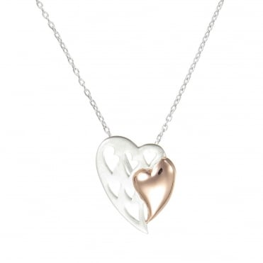 Rose Gold Vermeil Heart Within A Silver Filigree Heart Pendant Necklace