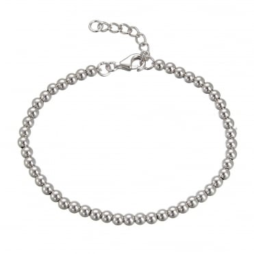 Silver 4mm Beaded Ball Bracelet With Extender Chain