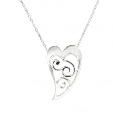 Silver Celtic Heart Design Pendant Necklace