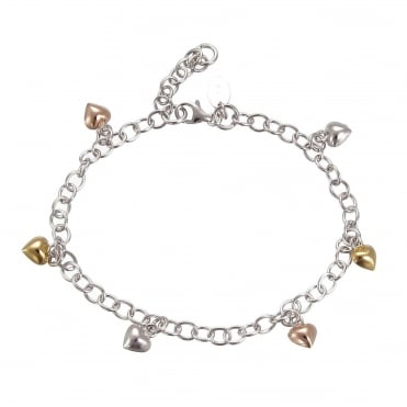 Silver Charm Bracelet With 6 Hanging Rose Gold Vermeil Hearts & Extender Chain