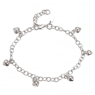 Silver Charm Bracelet With 6 Hanging Silver Hearts & Extender Chain