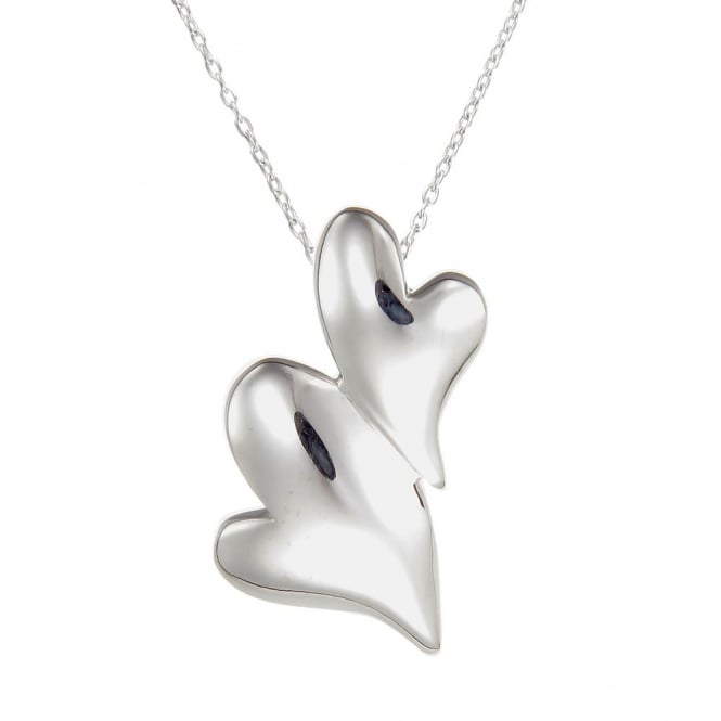 Number 39 Silver Puffed Hearts Pendant Necklace