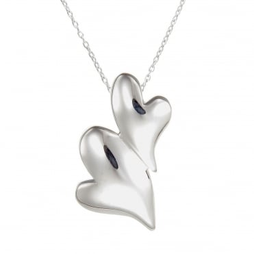 Silver Puffed Hearts Pendant Necklace