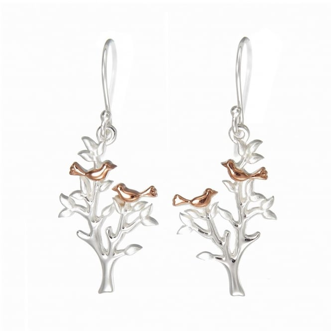 Number 39 Silver & Rose Gold Vermeil Nesting Love Bird Drop Earrings