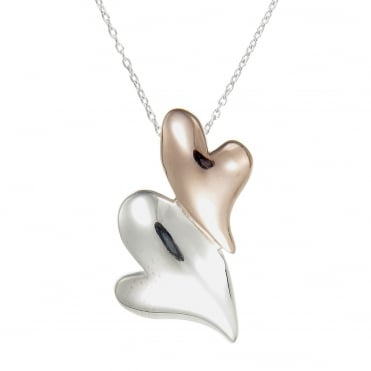 Silver & Rose Gold Vermeil Puffed Hearts Pendant Necklace