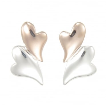 Silver & Rose Gold Vermeil Puffed Hearts Stud Earrings