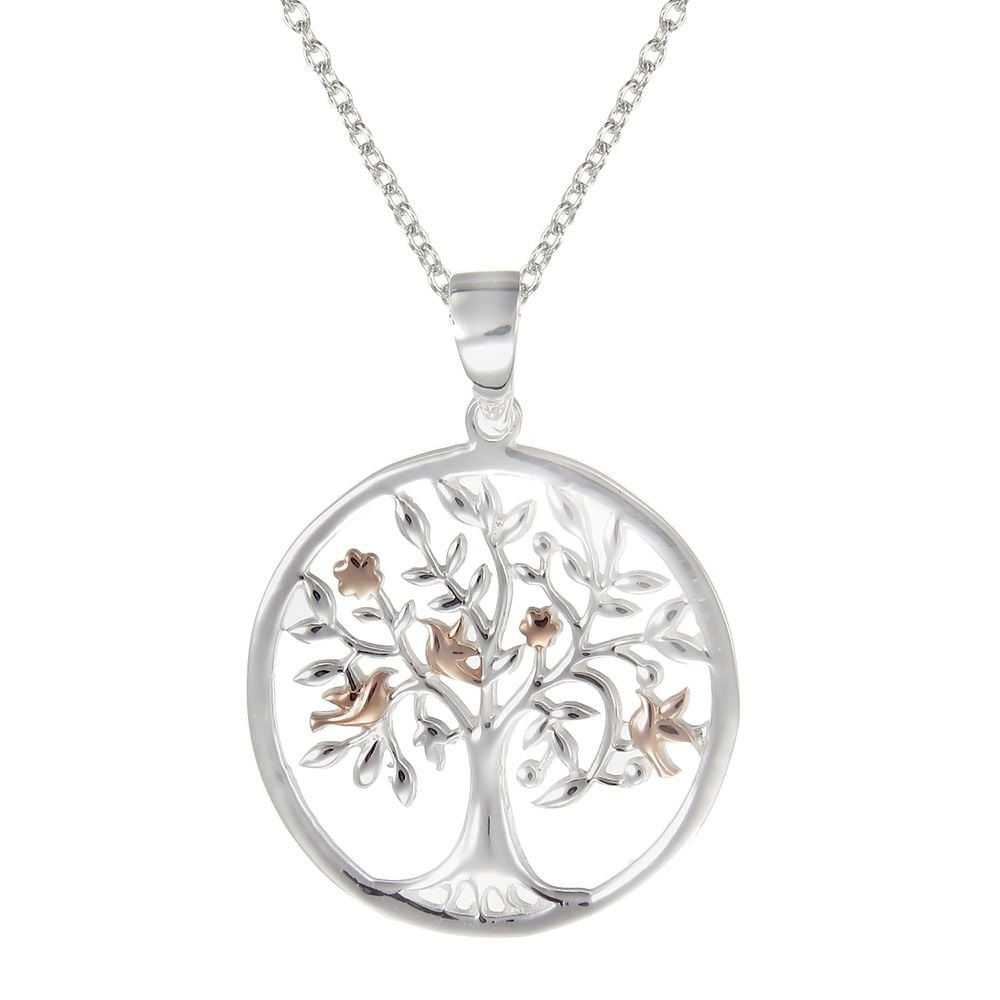 Grace co number 39 silver rose gold vermeil sacred tree pendant silver amp rose gold vermeil sacred tree pendant necklace aloadofball Image collections