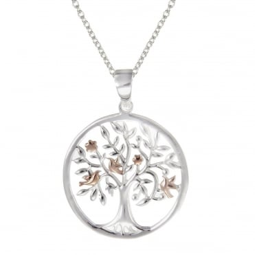 Silver & Rose Gold Vermeil Sacred Tree Pendant Necklace