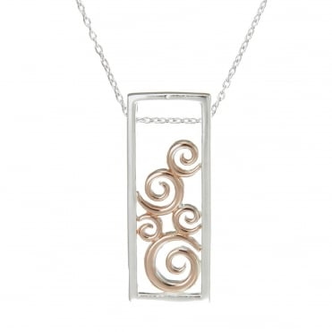 Silver & Rose Gold Vermeil Swirl Pendant Necklace
