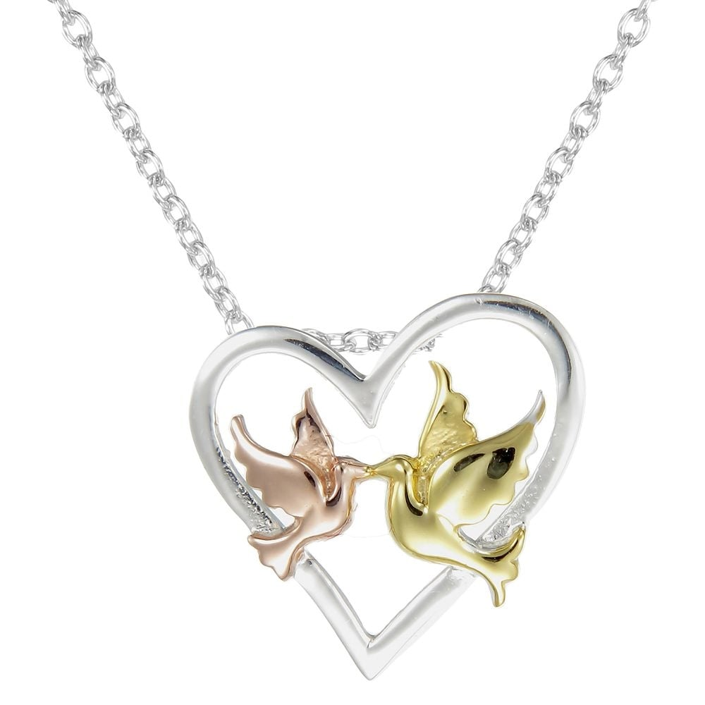 Grace co number 39 silver rose gold vermeil yellow gold silver rose gold vermeil amp yellow gold vermeil love birds in an open heart aloadofball Images