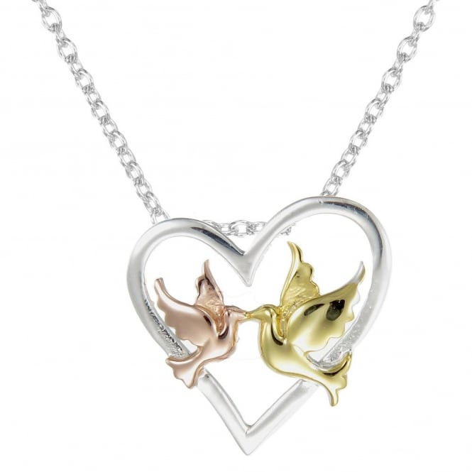 Number 39 Silver, Rose Gold Vermeil & Yellow Gold Vermeil Love Birds In An Open Heart Pendant Necklace