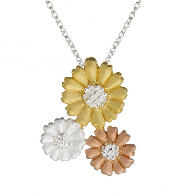 Number 39 Silver, Rose Gold Vermeil & Yellow Gold Vermeil Triple Daisy Pendant Necklace