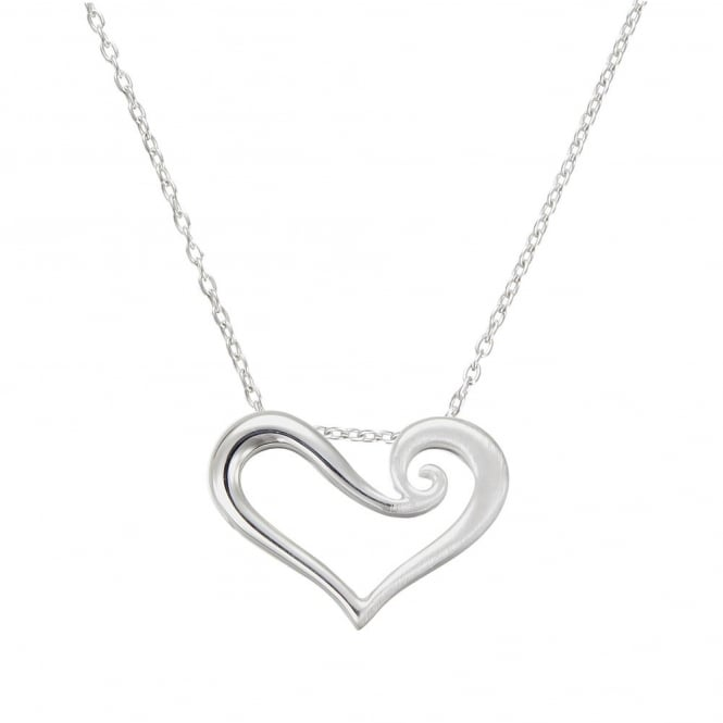Number 39 Silver Swirled Open Heart Pendant Necklace
