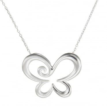 Silver Swirly Butterfly Pendant Necklace