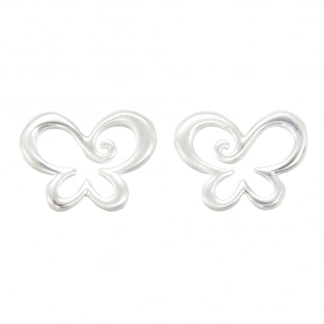 Number 39 Silver Swirly Butterfly Stud Earrings