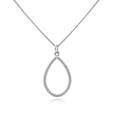 Silver Twisted Rope Pendant Necklace