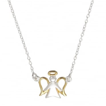 Silver & Yellow Gold Vermeil Angel Pendant Necklace