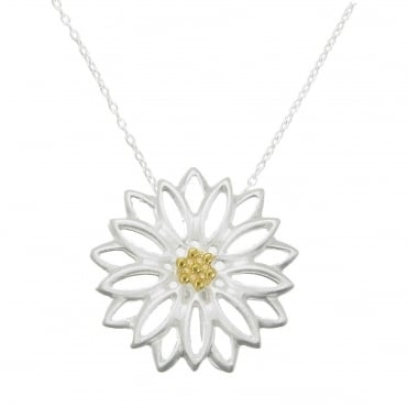 Silver & Yellow Gold Vermeil Daisy Pendant Necklace