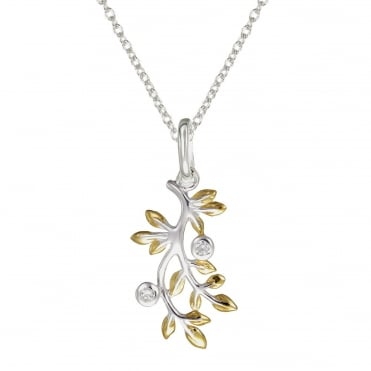 Silver & Yellow Gold Vermeil Leaf Pendant Necklace