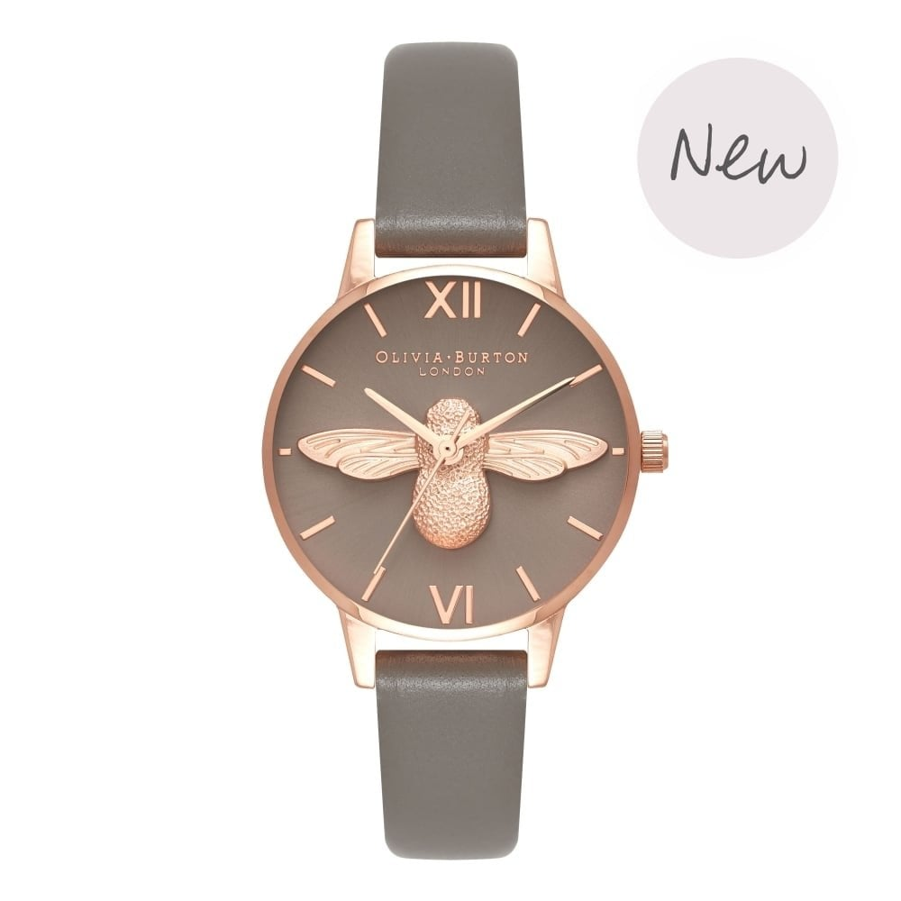 f4755adae3e3 OLIVIA BURTON 3D Bee London Grey Leather and Rose Gold Watch