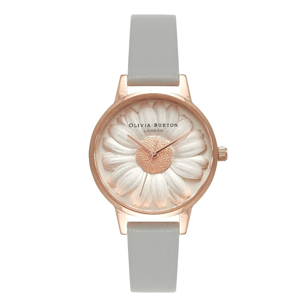 218496eb2131 OLIVIA BURTON 3D Daisy Grey Leather   Rose Gold Watch