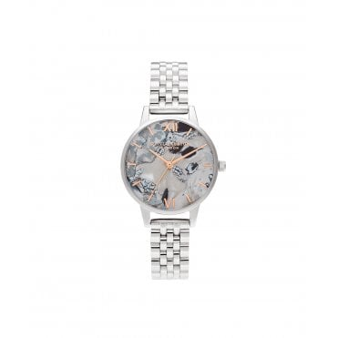 Abstract Florals Rose Gold & Silver Bracelet Watch