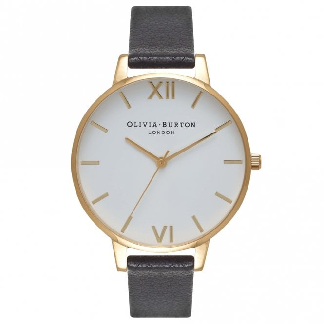Olivia Burton Big Dial Black Leather White and Gold Watch