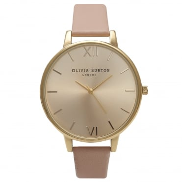 Big Dial Dusty Pink & Gold Watch