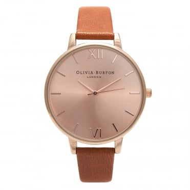 Big Dial Tan & Rose Gold Watch