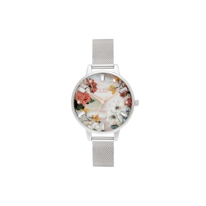 Olivia Burton Demi Mother Of Pearl Dial Silver Mesh Watch