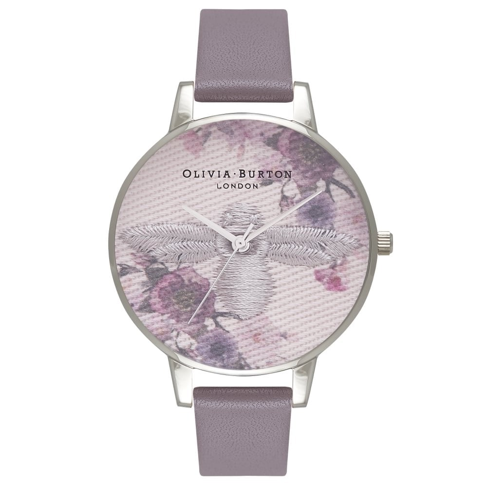 ea0dd376e OLIVIA BURTON Embroidered Dial London Grey and Silver Watch